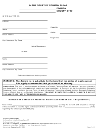 """Uniform Domestic Relations Form 27 (Uniform Juvenile Form 6) """"Motion for Change of Parental Rights and Responsibilities (Custody)"""" - Ohio"""