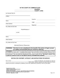 """Uniform Domestic Relations Form 24 (Uniform Juvenile Form 3) """"Motion for Contempt, Affidavit, and Instructions for Service"""" - Ohio"""
