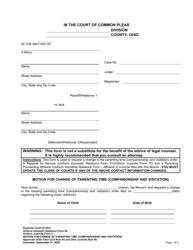 "Uniform Domestic Relations Form 26 (Uniform Juvenile Form 5) ""Motion for Change of Parenting Time (Companionship and Visitation)"" - Ohio"