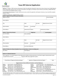 "Form MCD-358 ""Texas Irp External Application"" - Texas"