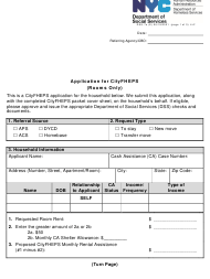 """Form DSS-7O """"Application for Cityfheps (Rooms Only)"""" - New York City"""