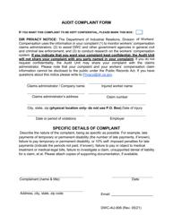 """Form DWC-AU-906 """"Audit Complaint Form"""" - California"""