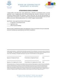 """Attestation of Covid-19 Hardship"" - Connecticut"