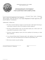 """Form FLC-008 """"Sponsorship Statement for Contractor's Employee"""" - Idaho"""
