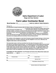 "Form FLC-013 ""Farm Labor Contractor Bond"" - Idaho"