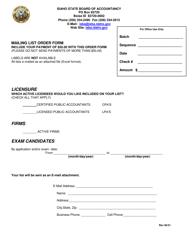 """Mailing List Order Form"" - Idaho"