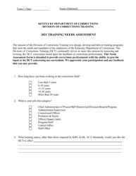 """""""Training Needs Assessment"""" - Kentucky, 2021"""