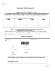 "Form DPP-164 ""Applicant Live Scan Fingerprinting Form"" - Kentucky"