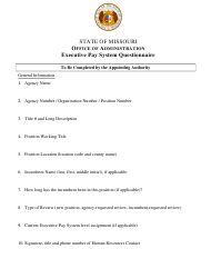 """""""Executive Pay System Questionnaire"""" - Missouri"""