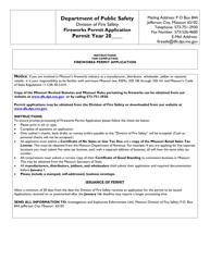 "Form MO815-F0104 ""Fireworks Permit Application"" - Missouri"