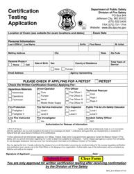 "Form MO815-F0044 ""Certification Testing Application"" - Missouri"