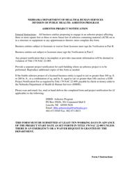"""Form 5 """"Asbestos Project Notification"""" - Nebraska"""