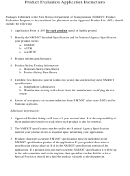 """Instructions for Form A-495 """"Application for Product Evaluation"""" - New Mexico"""