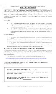 """Form 4 """"Rhode Island Home Loan Protection Act Disclosure High-Cost Home Loan"""" - Rhode Island"""