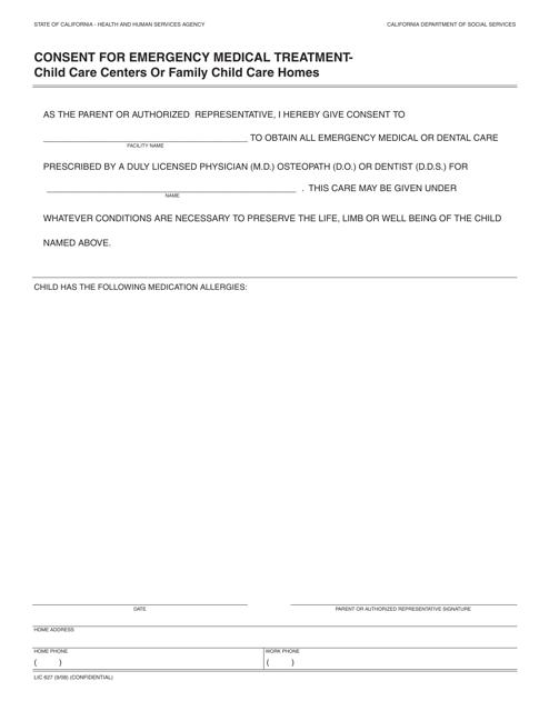 Form LIC627  Printable Pdf