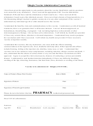 """""""Shingles Vaccine Administration Consent Form"""""""