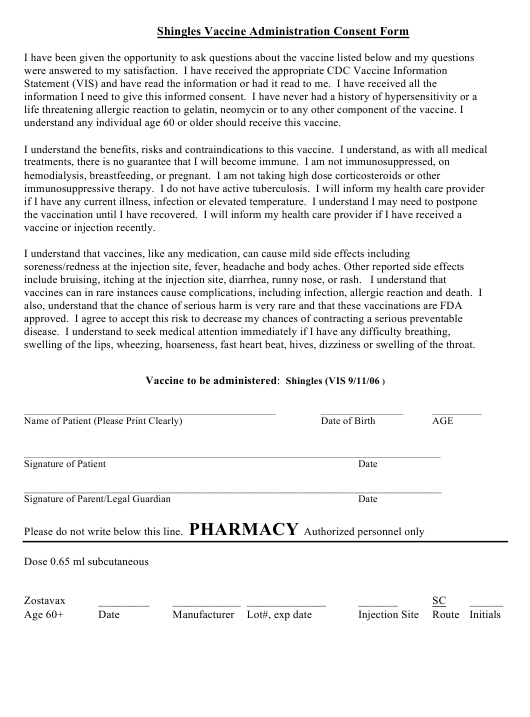 """Shingles Vaccine Administration Consent Form"" Download Pdf"