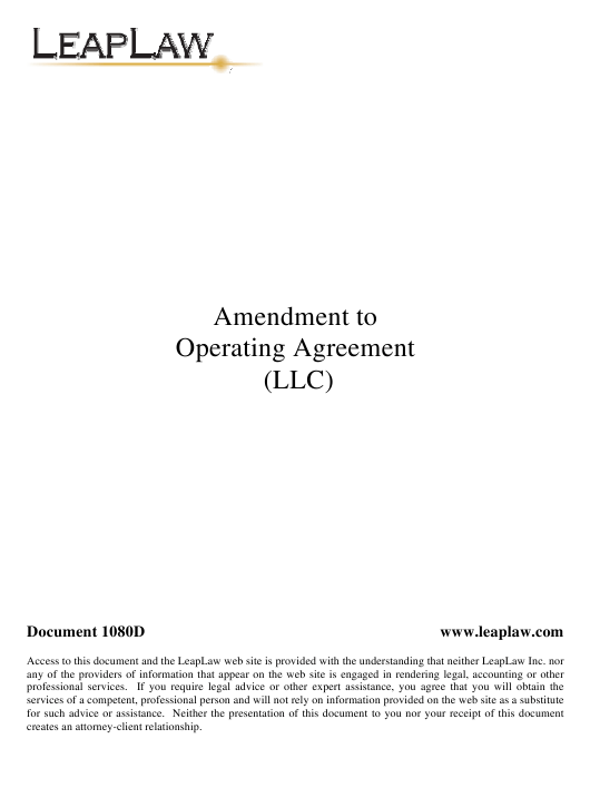 """Sample """"Amendment to Operating Agreement (LLC) Template - Leaplaw"""" Download Pdf"""