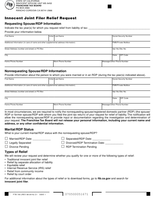 Form FTB705  Printable Pdf