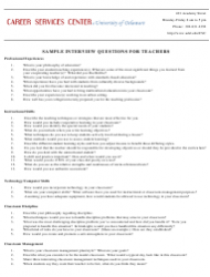 Sample Interview Questionnaire Template for Teachers - University of Delaware