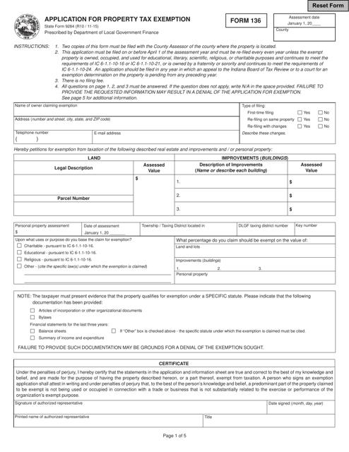 Form 136 (State Form 9284)  Printable Pdf