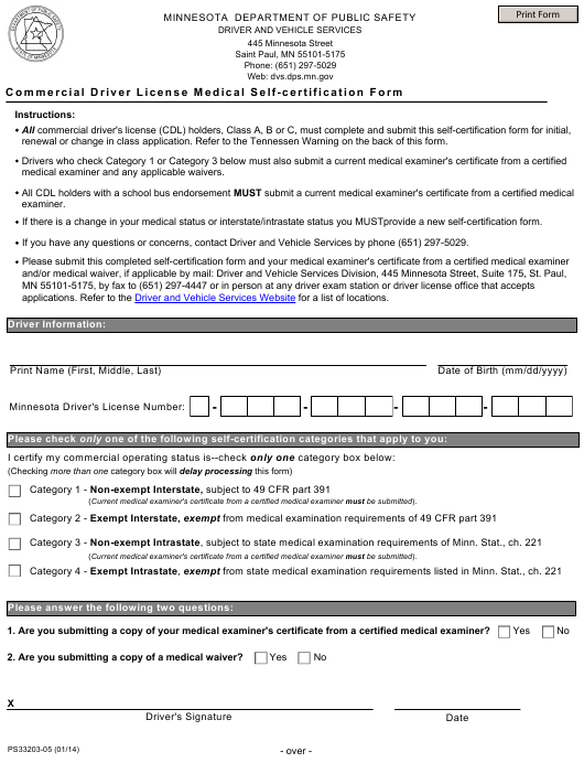 Form Ps 33203 Download Fillable Pdf Commercial Driver License