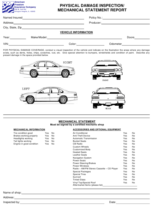 Physical Damage Inspection/Mechanical Statement Report Form - American Freedom Insurance Company - Illinois Download Pdf