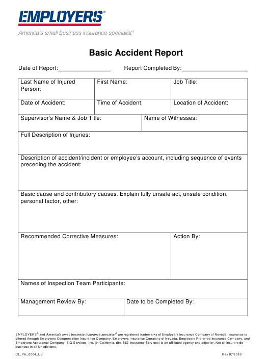 """""""Basic Accident Report Form - Employers"""" Download Pdf"""