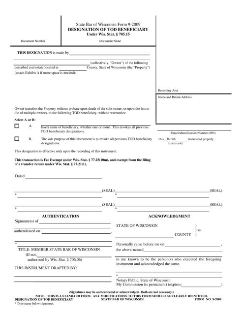 Form 9-2009  Printable Pdf