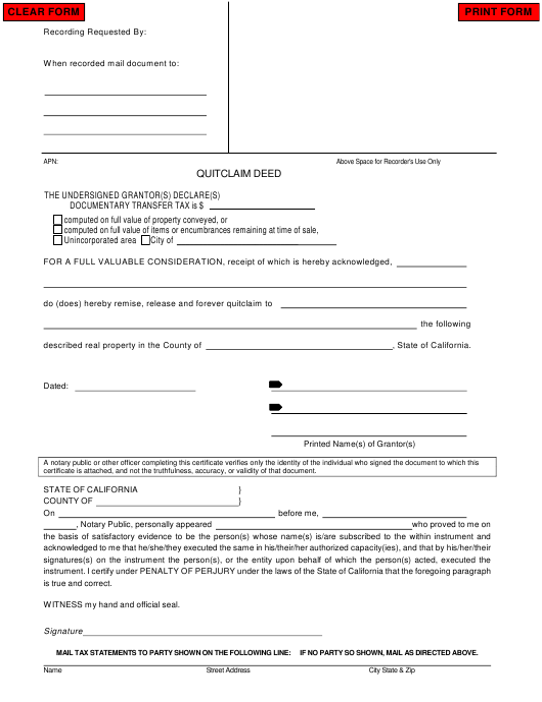 """Quitclaim Deed Form"" - California Download Pdf"