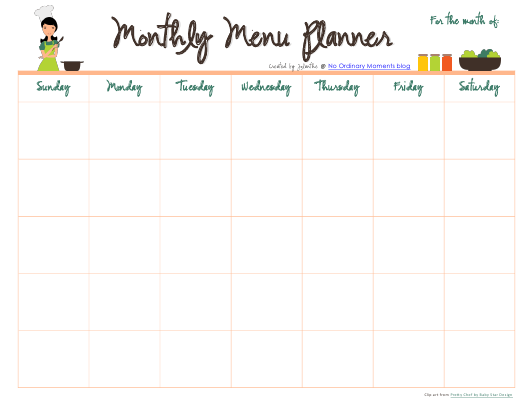 """Monthly Menu Planner Template"" Download Pdf"