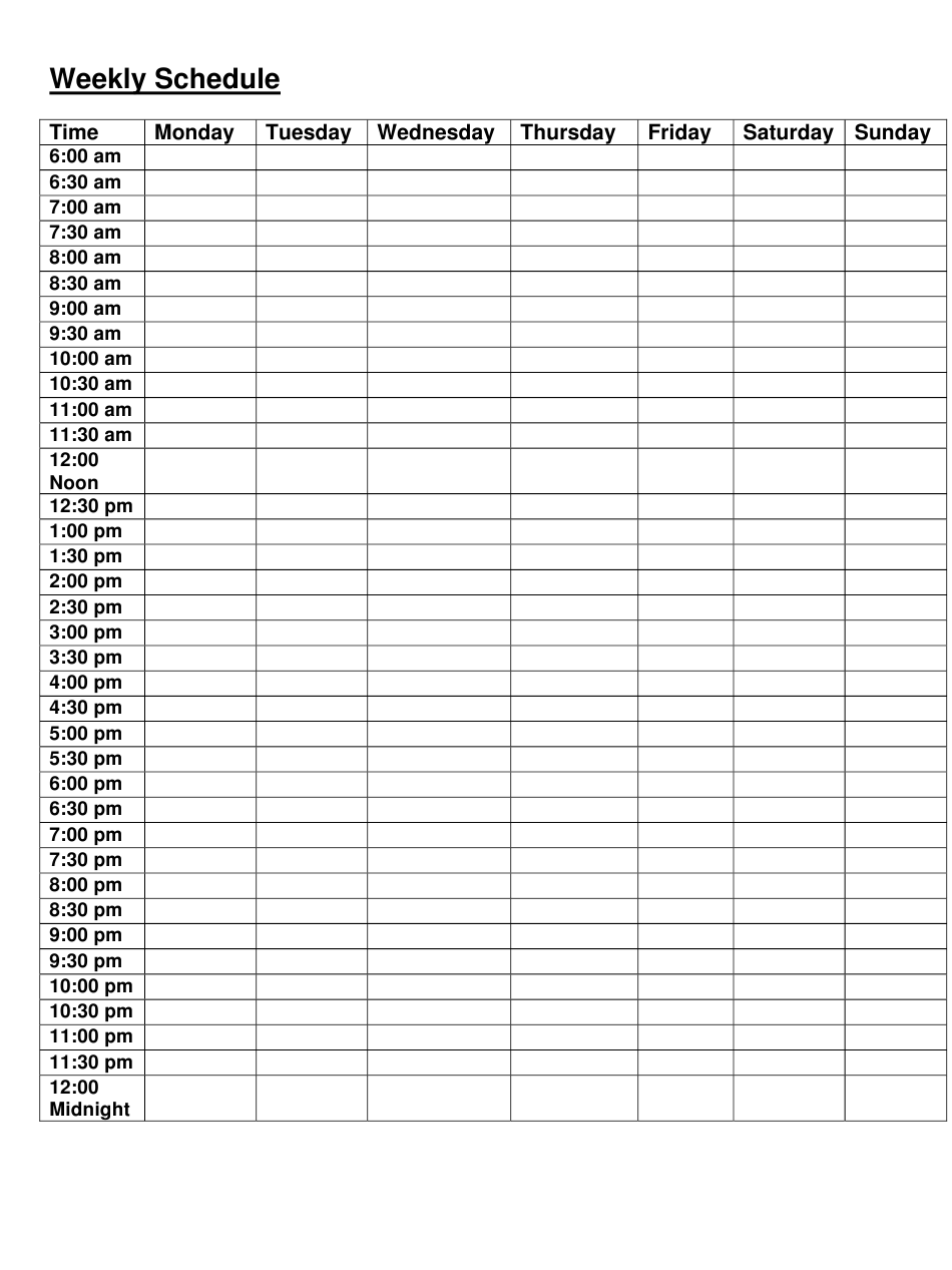 Weekly Schedule Template Download Printable PDF   Templateroller