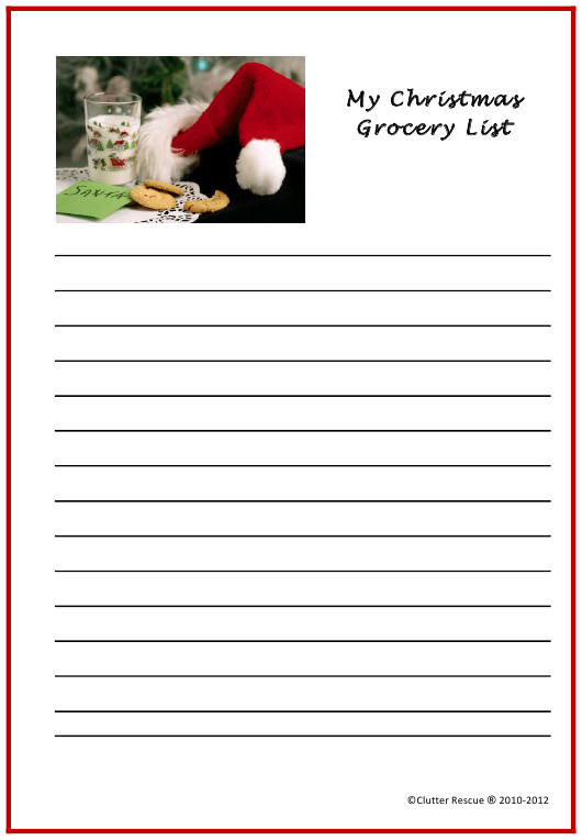 """""""Christmas Grocery List Template"""" Download Pdf"""