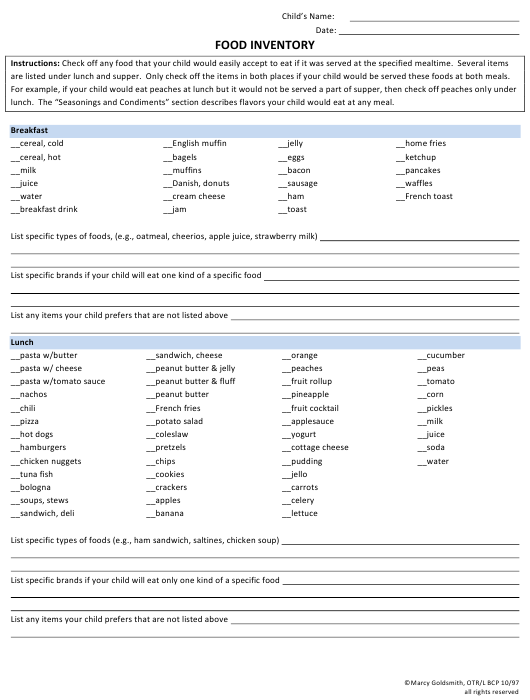 """""""Food Inventory Template"""" Download Pdf"""