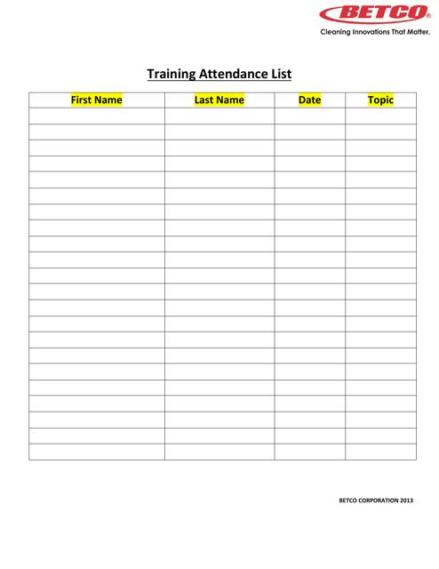 """Training Attendance List Template - Betco Corporation"" Download Pdf"