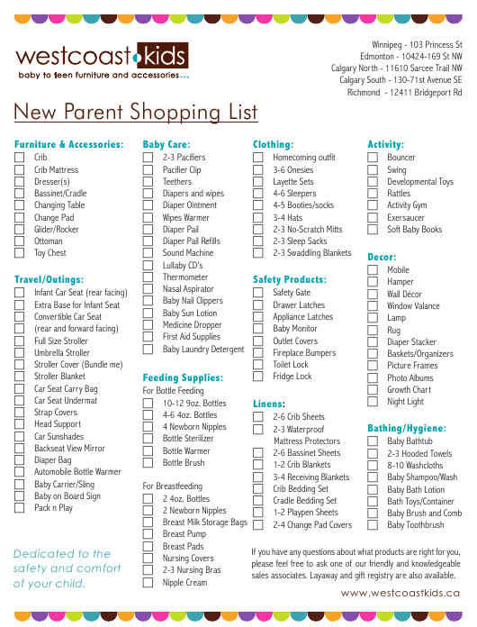 New Parent Shopping List Template Download Pdf