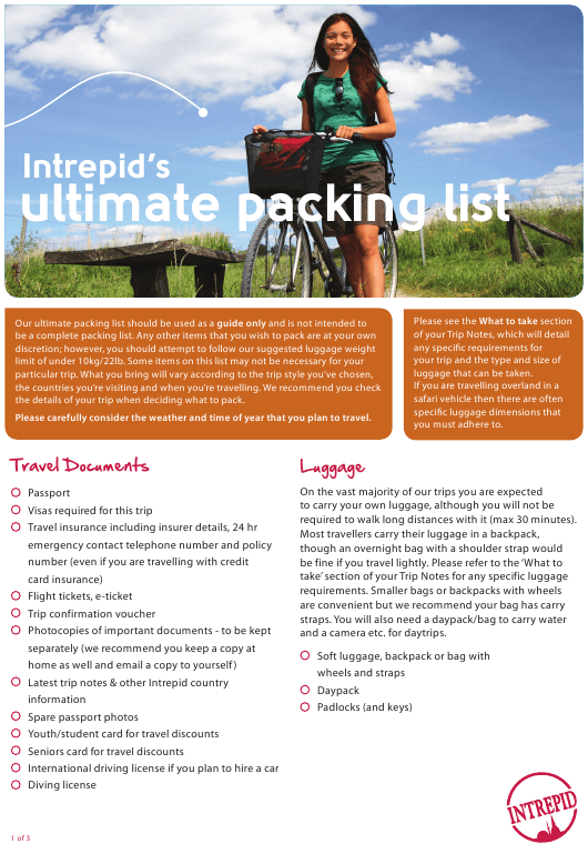 """Ultimate Packing List - Intrepid"" Download Pdf"