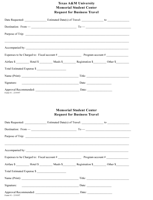 """Request Form for Business Travel - Texas a&m University"" - Texas Download Pdf"