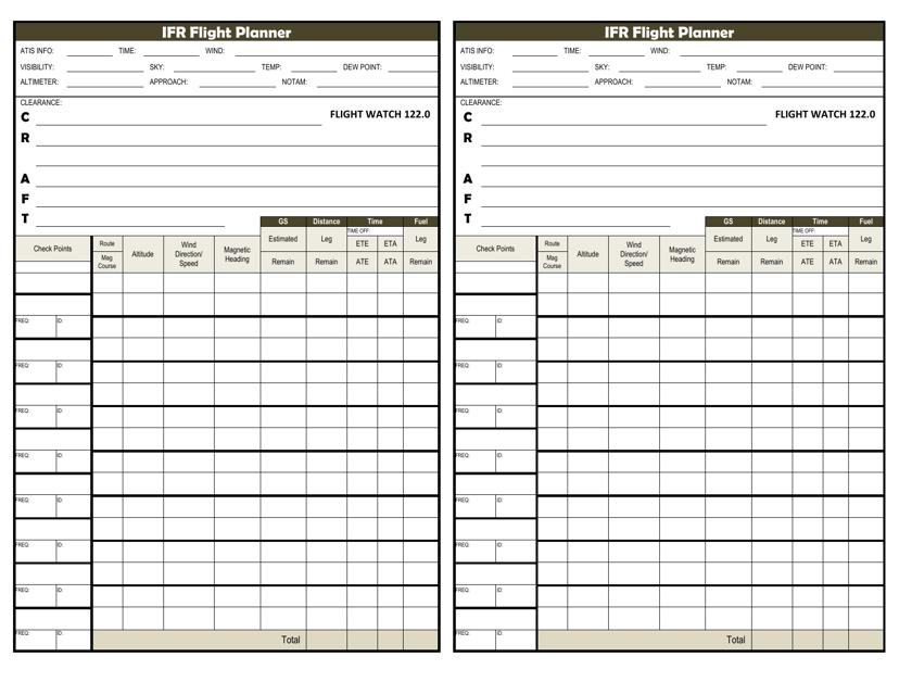 Ifr Flight Planner Template Download Pdf