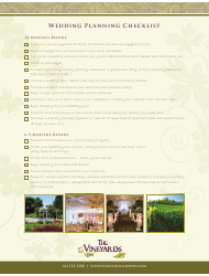 Wedding Planning Checklist Template - the Vineyard
