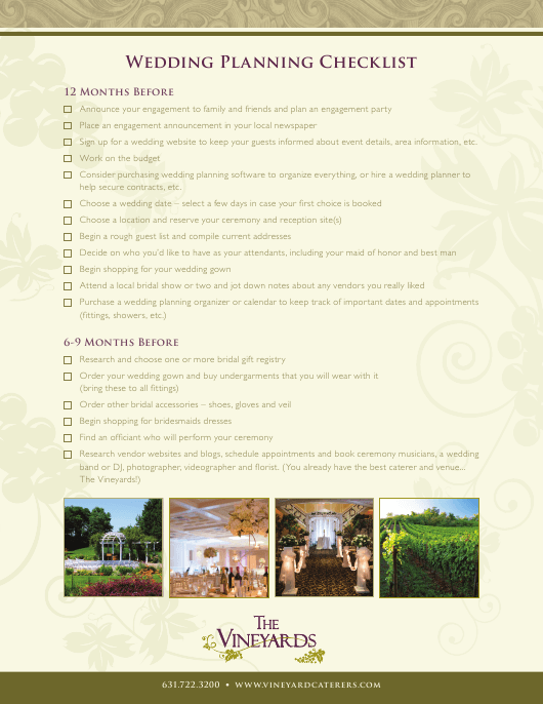 wedding planning checklist template the vineyard download