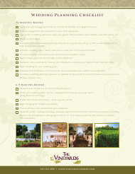"""Wedding Planning Checklist Template - the Vineyards"""