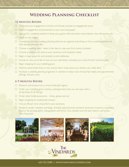 """Wedding Planning Checklist Template - the Vineyards"" Download Pdf"