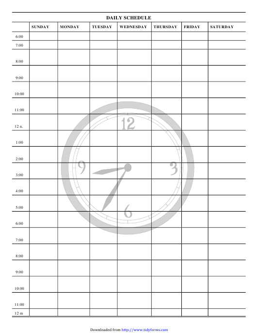 """Daily Schedule Template"" Download Pdf"