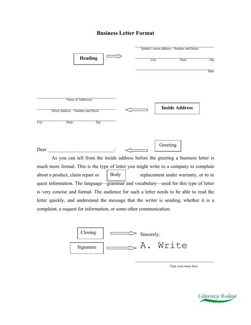 sample business letter format template literacy rules download pdf - Sample Business Letter Format