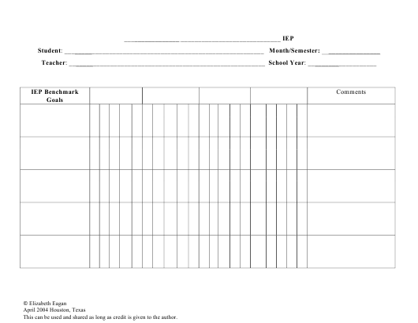 """Iep Progress Chart Template"" Download Pdf"