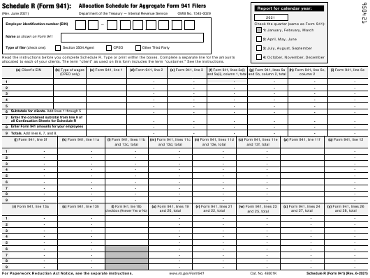 IRS Form 941 Schedule R 2021 Printable Pdf