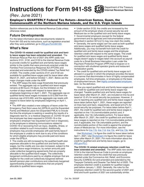 IRS Form 941-SS Printable Pdf