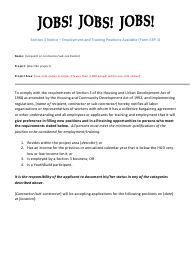 """Form S3P-1 """"Section 3 Notice - Employment and Training Positions Available"""" - Arizona"""