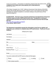 "Form DFPI-803 ""Comments or Complaints Regarding Dfpi Performance"" - California"